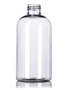 24/410 PET Clear Boston Round Bottle - 8 ounce